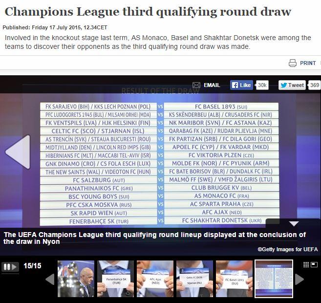 Скриншот сайта УЕФА