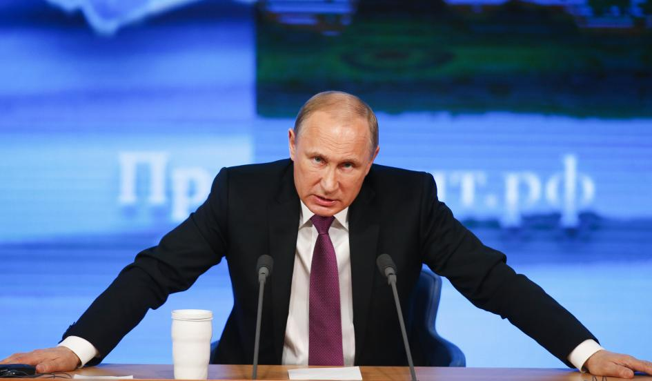 Russian President Vladimir Putin speaks during his annual end-of-year news conference in Moscow on December 18, 2014. Authoritarian countries like Russia, China and Iran are exploiting the West's tradition of a free press, the author writes. Maxim Zmeyev/Reuters