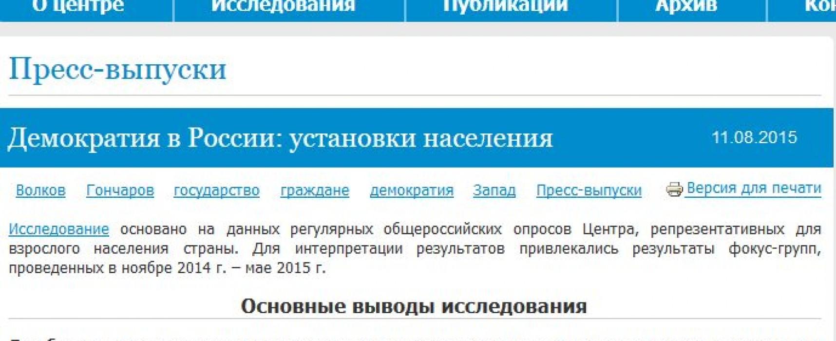 Демократия в России: установки населения