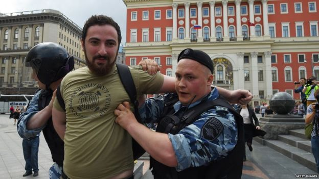 Dmitry Enteo was detained at a rally against gay rights in May 2015