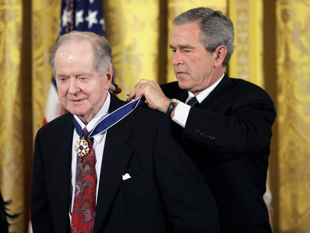 President George W. Bush presents the Presidential Medal of Freedom to historian Robert Conquest, left, in 2005. (Evan Vucci/Associated Press)