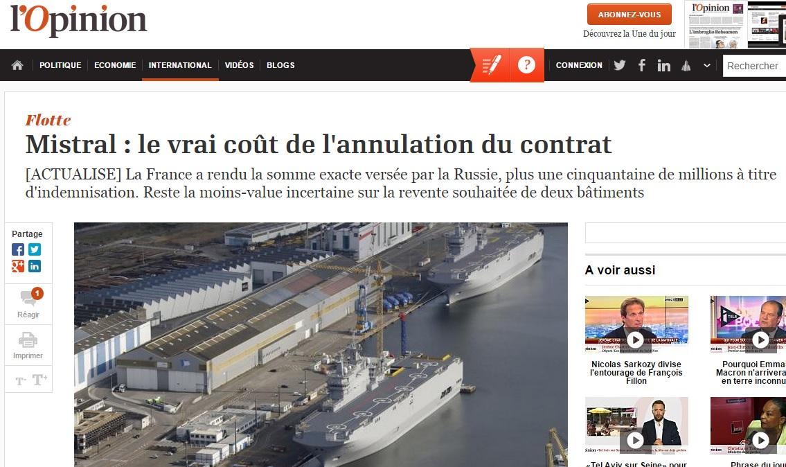 Сриншот сайта lopinion.fr