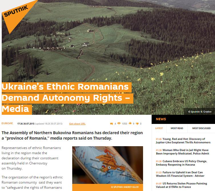 Screenshot of Sputnik web-site