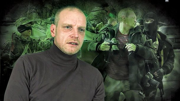 """A screenshot shows German citizen Mirko Mebius, who has been working under the pseudonym Mark Bartalmai, in a documentary on Ukraine called """"Ukrainian agony: The Concealed War"""" made by Mebius. The film was presented in Berlin on July 18. © Courtesy"""