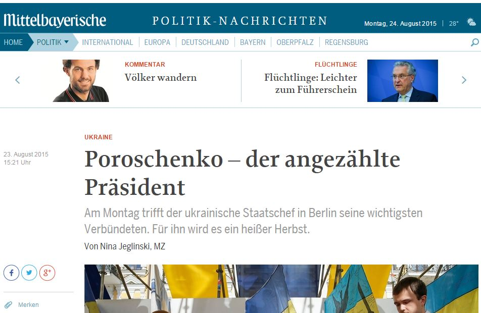 Скриншот сайта mittelbayerische.de