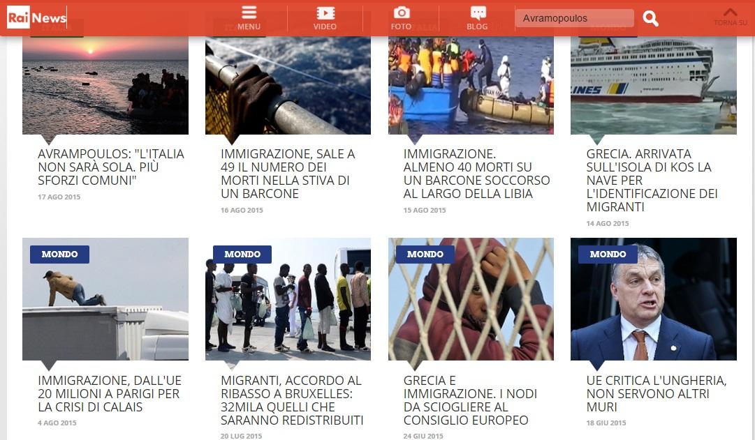 """Căutare """"Avramopoulos"""" pe site-ul RAI News"""
