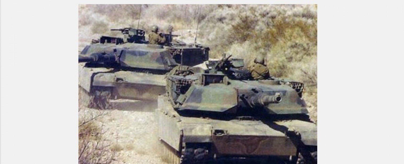 Photo Fake by Russkaya Vesna: American Tanks in Antiterrorist Operation Area