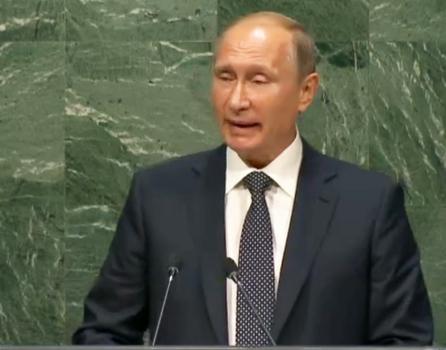Vladimir Putin speaks at the UN. United Nations webcast screenshot