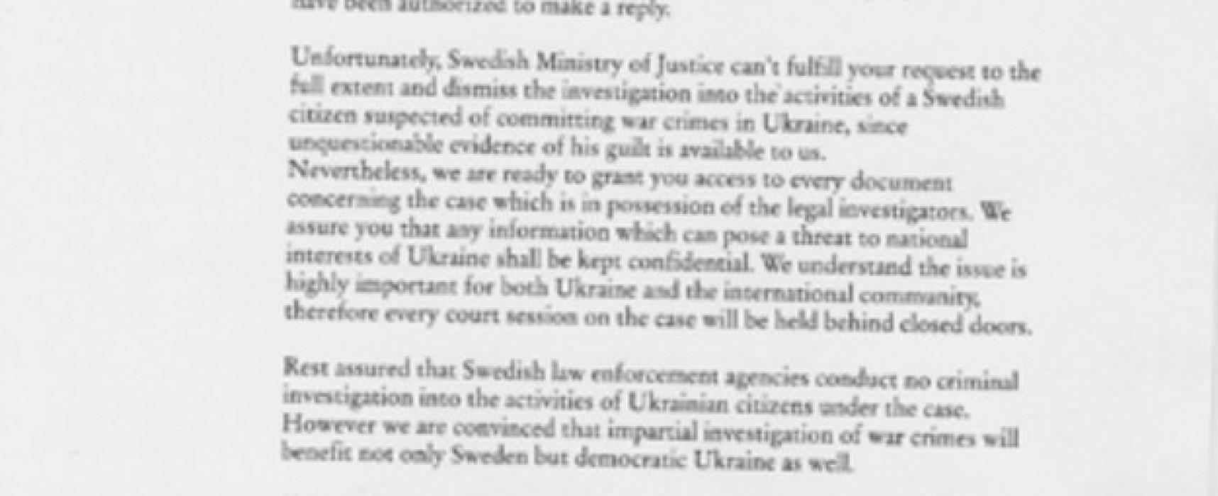 Fake Swedish letter in Russian media
