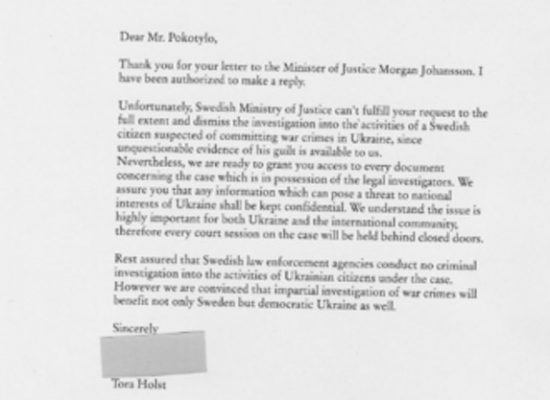 Fake Swedish letter in Russian media