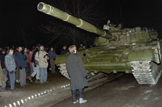 In January 1991 Soviet troops assaulted the main radio and TV station in Lithuania / AFP