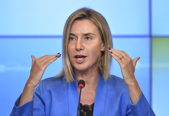 High Representative of the Union for Foreign Affairs and Security Policy and Vice-President of the Commission Federica Mogherini gives a press conference on the second day of the EU Foreign Affairs Council meeting in Luxembourg, on September 5, 2015. AFP PHOTO/JOHN THYS        (Photo credit should read JOHN THYS/AFP/Getty Images)