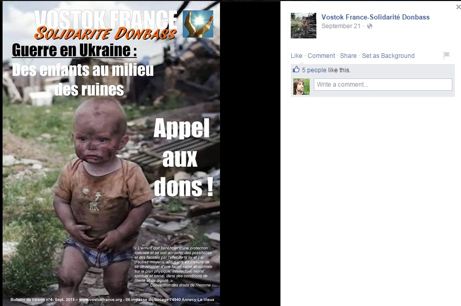 Screenshotul grupului social Vostok France-Solidarité Donbass
