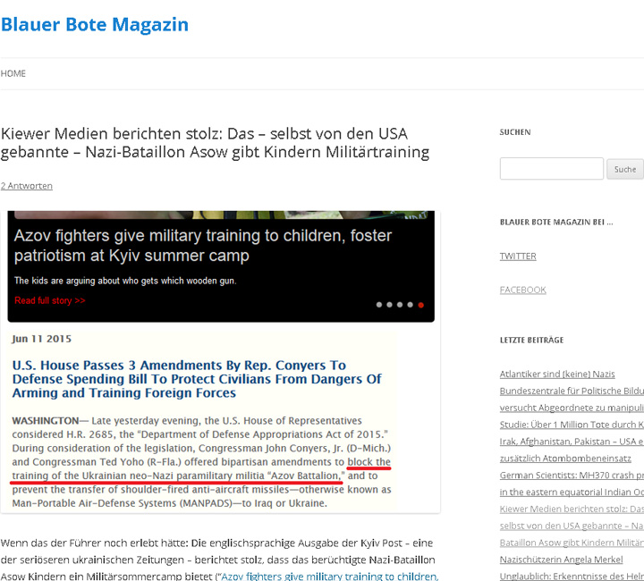 website screenshot blauerbote.com