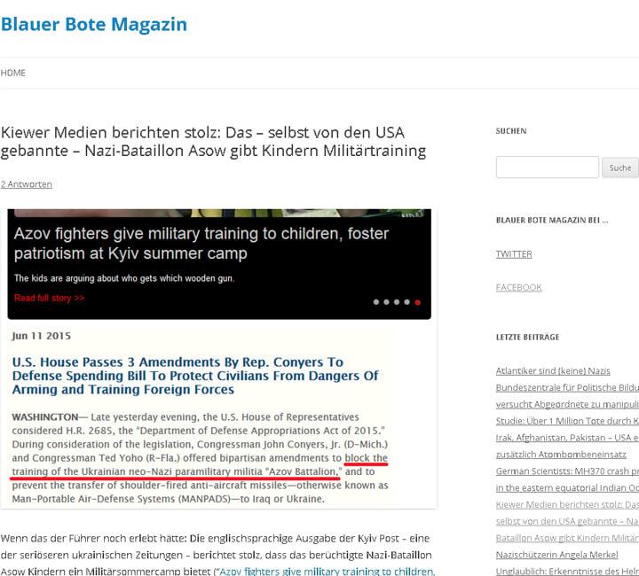website screenshot blauerbote.com