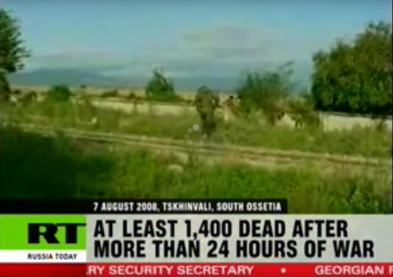 Photo: RT reporting on Russian - Georgian war (screenshot from RT)