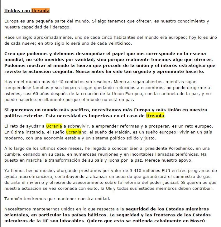 La parte del discurso del Estado de la Unión 2015 de Jean-Claude Juncker donde trata de Ucrania