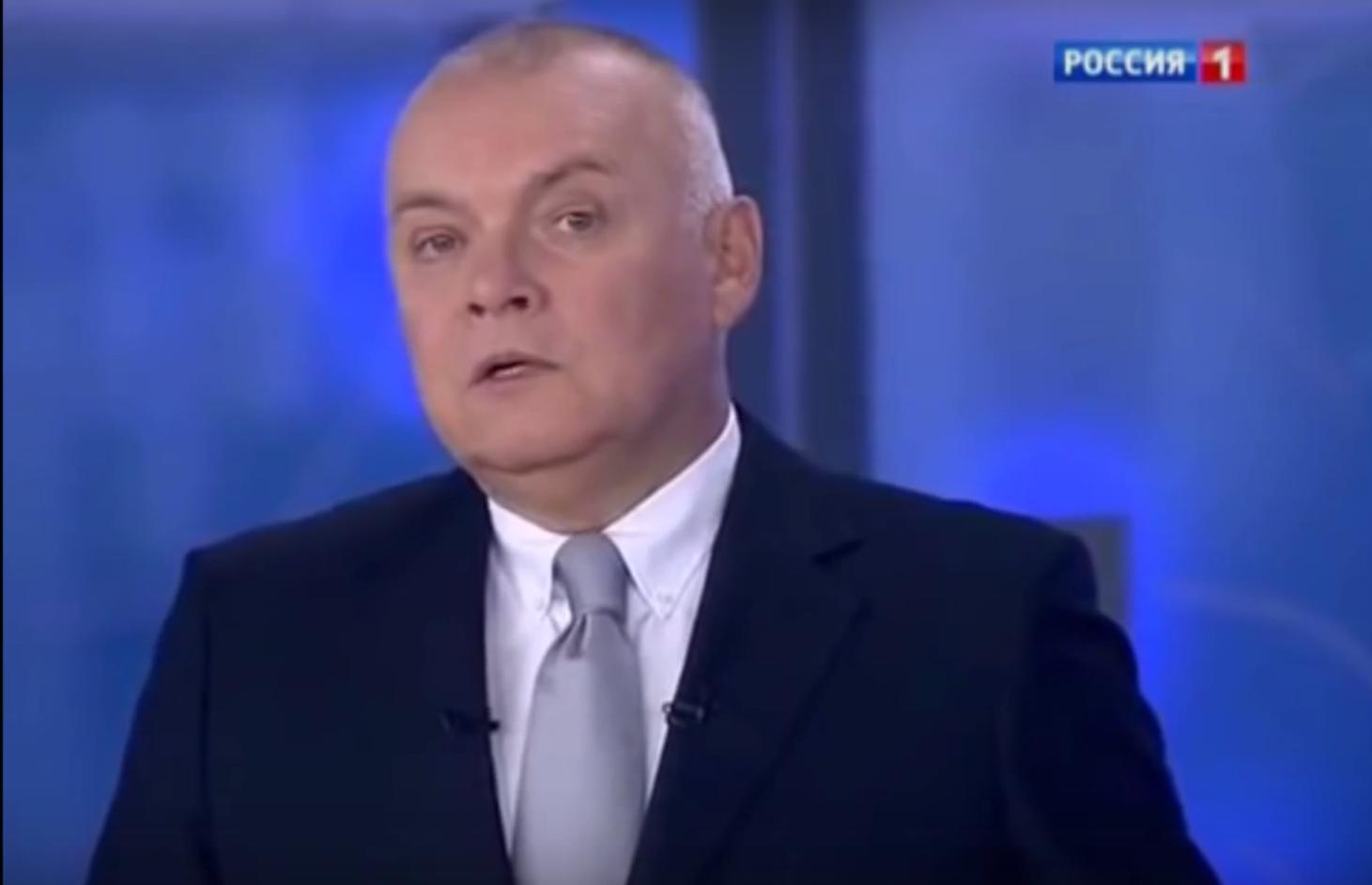 Dmitry Kiseleyov, head of Russia Segonya and popular TV host, is often described as Putin's key propagandist PHOTO: Rossia1