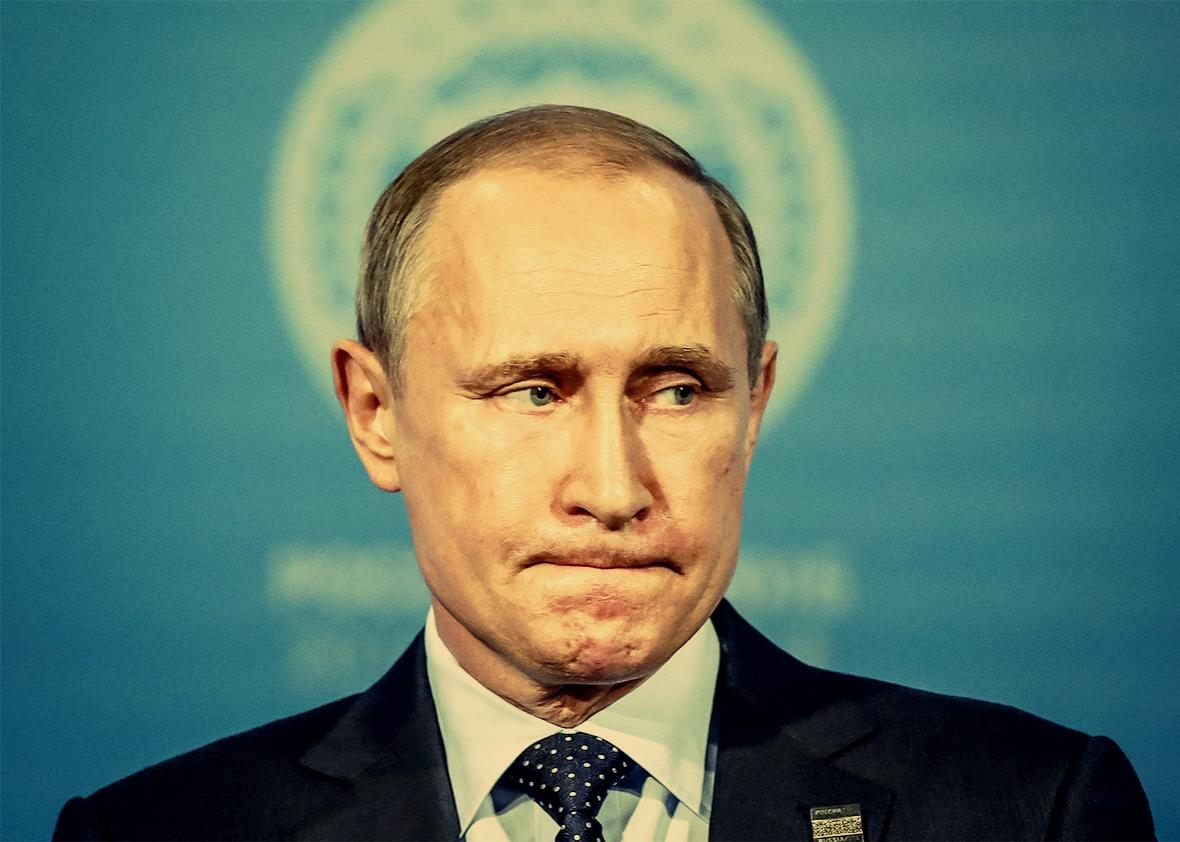 Russian President Vladimir Putin looks on at a news conference in Ufa, Russia, on July 10, 2015. Photo illustration by Juliana Jiménez. Photo by Sergei Karpukhin/Reuters