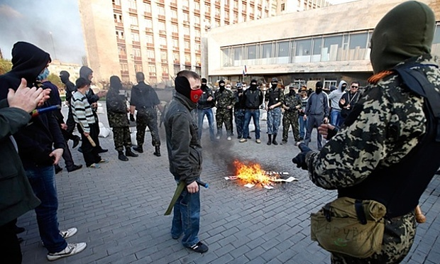 Pro-Russian protesters in the Ukrainian city of Donetsk. Photograph: Marko Djurica/Reuters