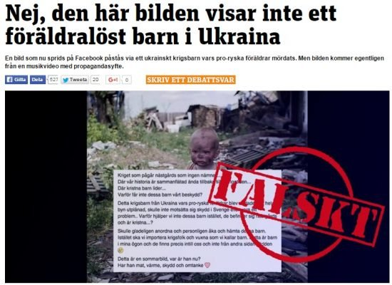 Photo Fake: Boy from Donbas Used to Protest Muslim Migrants in Sweden