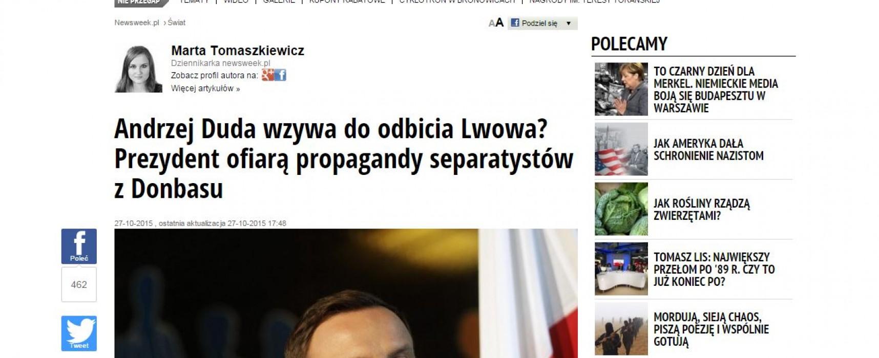 Полско списание по грешка обвини украинско СМИ, че измислило заявление на Анджей Дуда