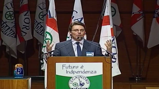 Alexey Komov addresses the congress of Lega Nord, December 2013, Rome