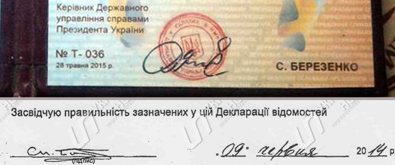Сравнение на подписа на Сергей Березенко