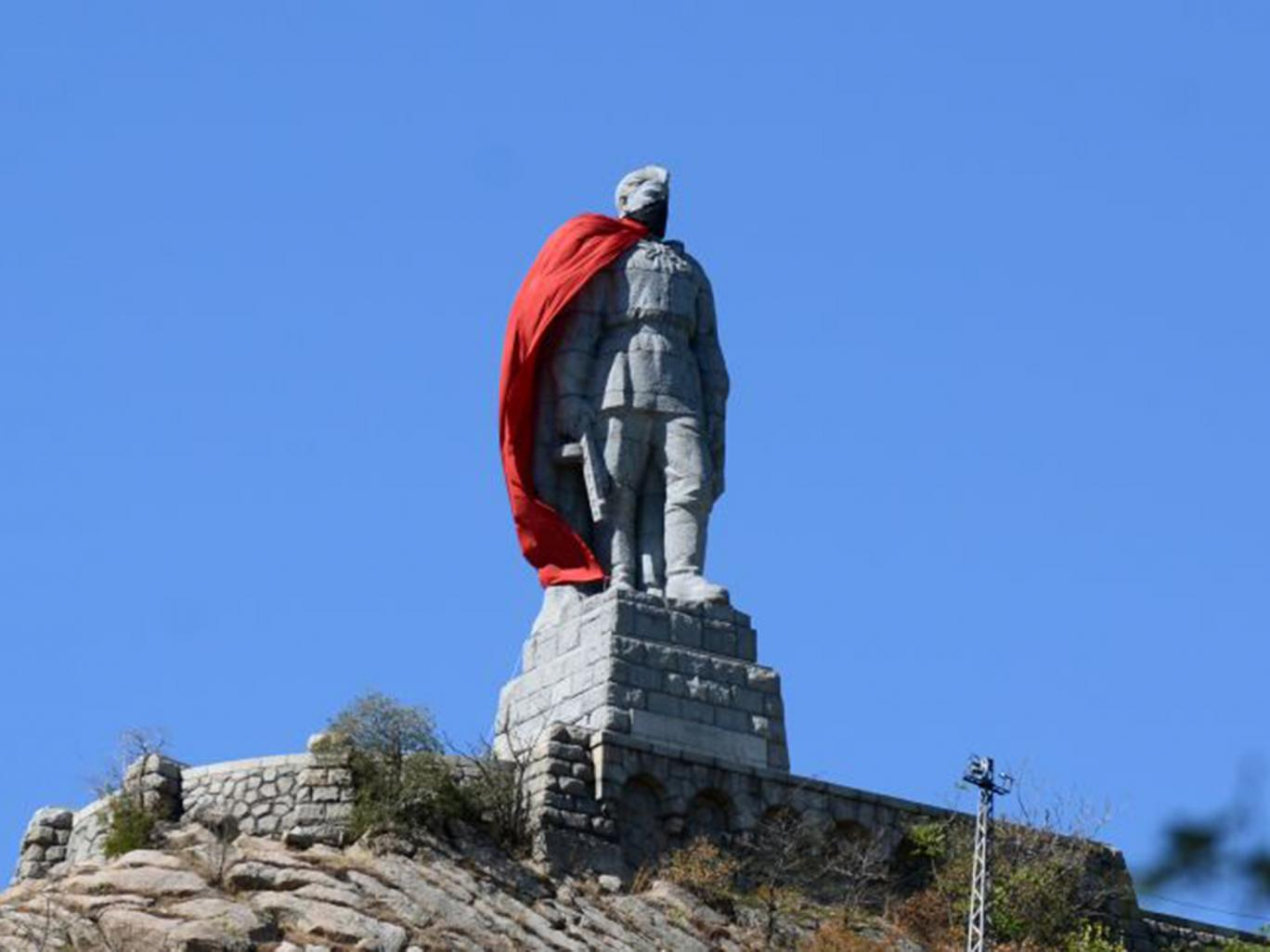 A 10.5-meter high monument of a Soviet soldier draped with a red cloak in the Bulgarian city of Plovdiv Getty