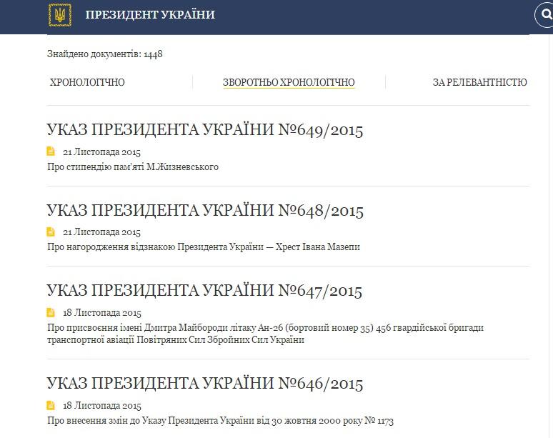 Скриншот www.president.gov.ua