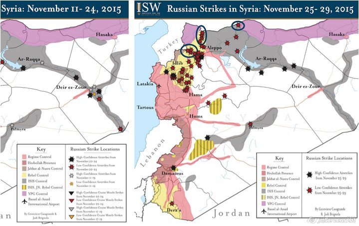 The latest assessment of Russian airstrikes in Syria by The Institute For The Study Of War