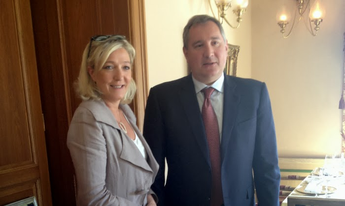 Marine Le Pen and Dmitry Rogozin in Moscow, 2013