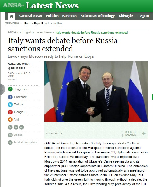 Скриншот на www.ansa.it