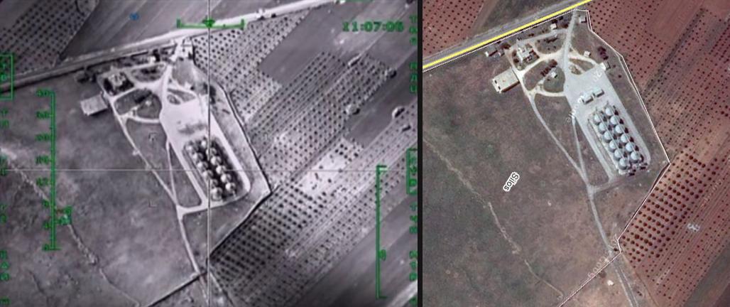 Сравнение стопкадра видео Минобороны РФ и спутникового снимка