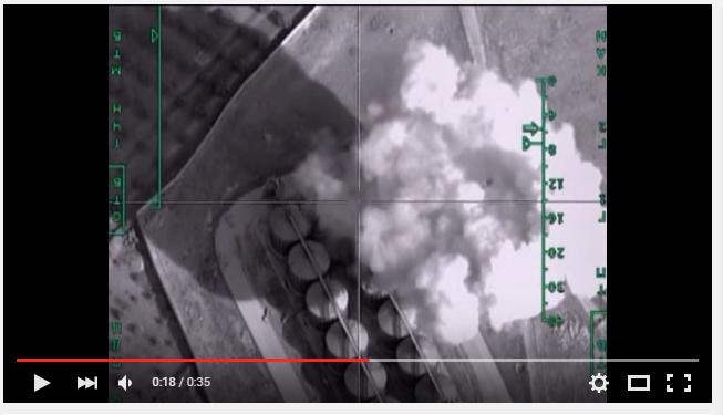 Дым после атаки на видео Минобороны РФ