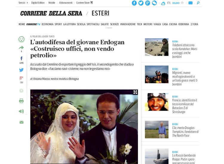 Скриншот на сайта Corriere della Sera