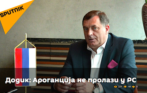 Dodik on Sputnik, which launched a Serbian language service in February (Photo: rs.sputniknews.com)