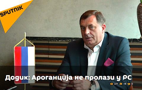 Dodik on Sputnik, which launched a Serbian language service in February (Photo: rs.sputniknews.com)