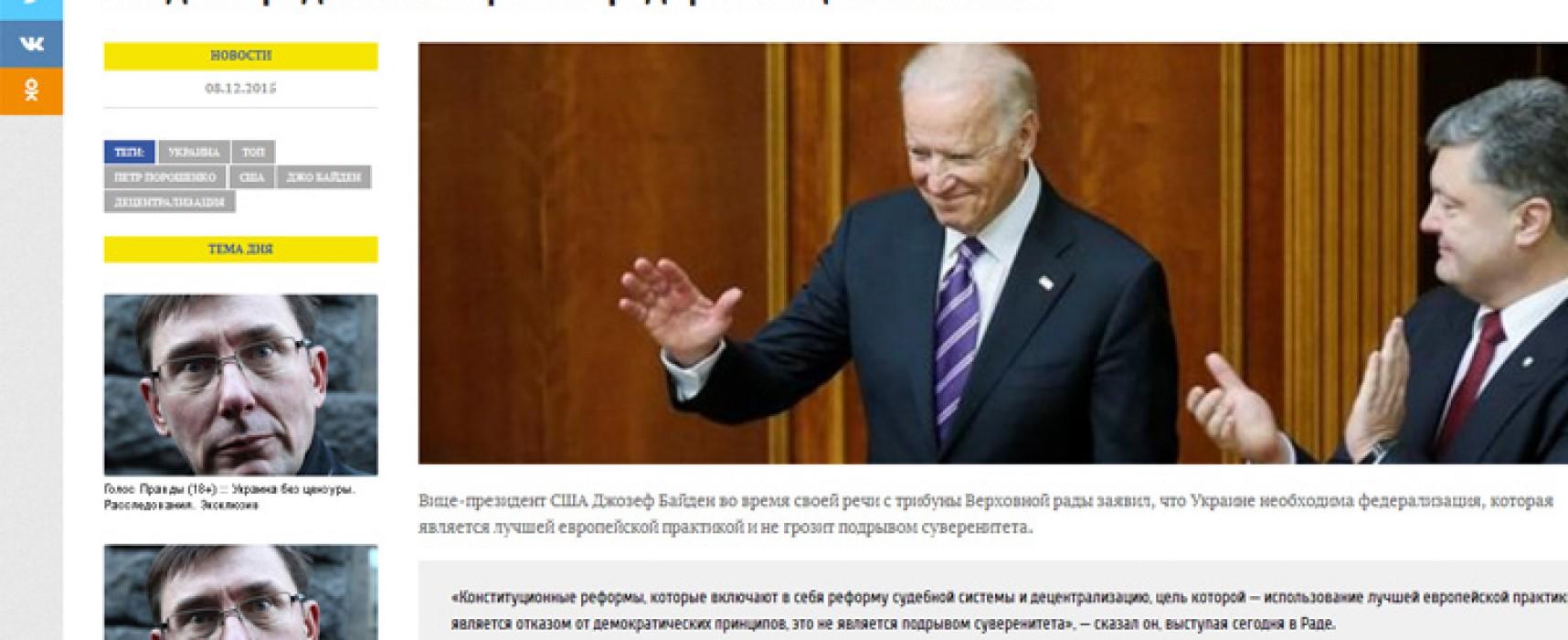 Fals: Biden a propus federalizarea Ucrainei