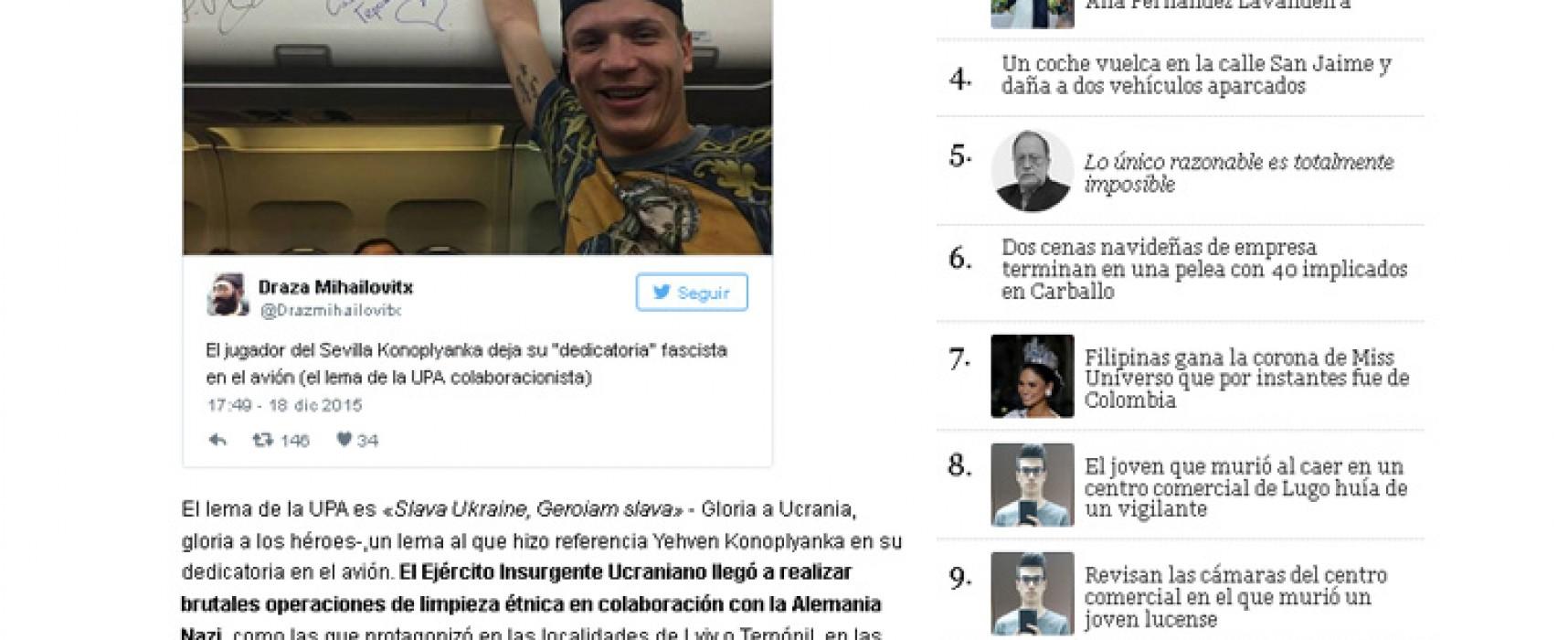 """Un medio español publicó la nota sobre el futbolista """"fascista"""" Konoplyanka"""