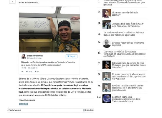 "Spanish Newspaper calls Ukrainian Footballer ""Fascist"""