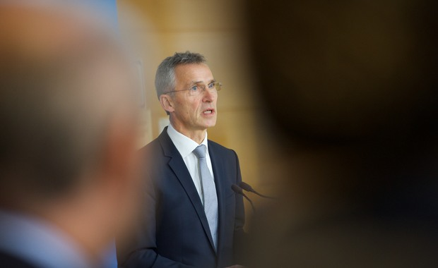 NATO Secretary General Jens Stoltenberg during the joint press point with the Prime Minister of Turkey, Ahmet Davutoglu