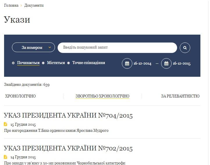 скриншот на сайта www.president.gov.ua