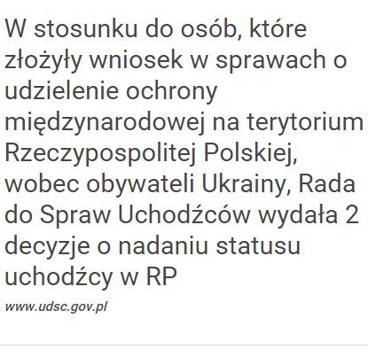 """...Съветът по въпросите на бежанците е взел две решения за предоставянето на статут на бежанец в Република Полша"""""""
