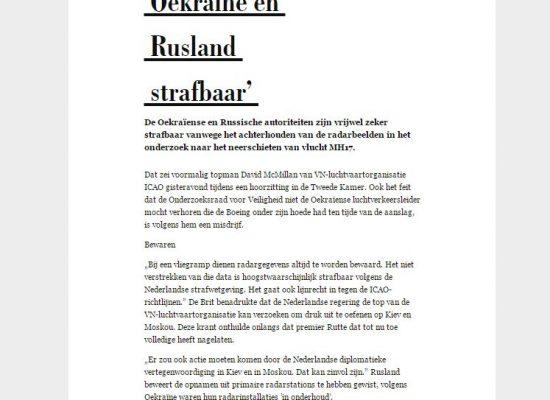 Fake: Nederland beschuldigt Oekraïne van een misdrijf in het onderzoek naar de MH17