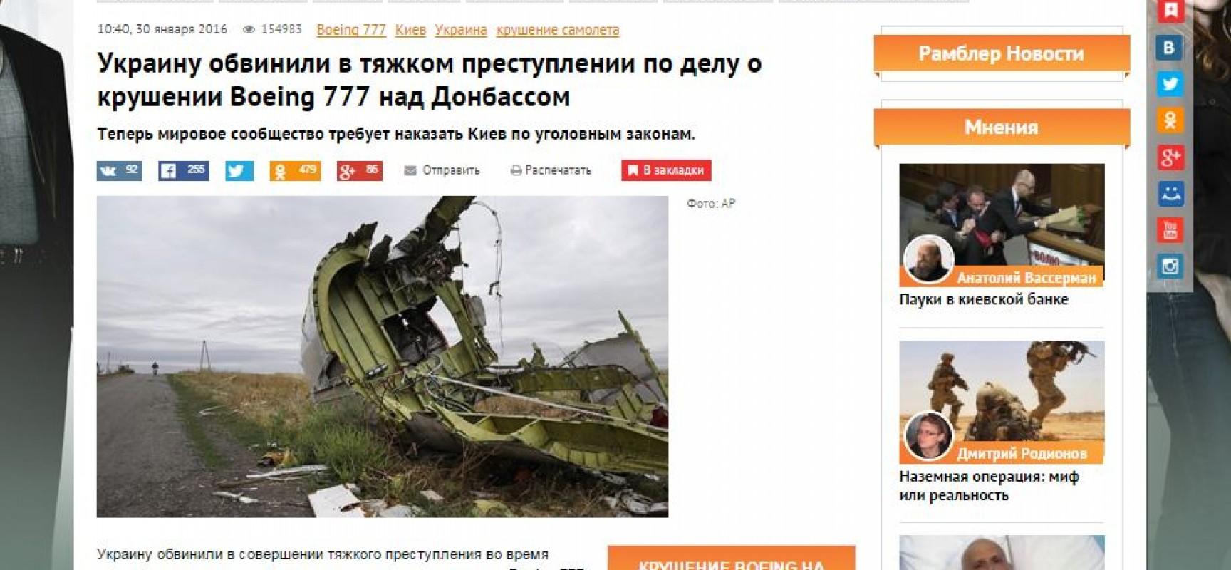 Fake: L'Olanda accusa l'Ucraina di crimini relativi al volo MH17