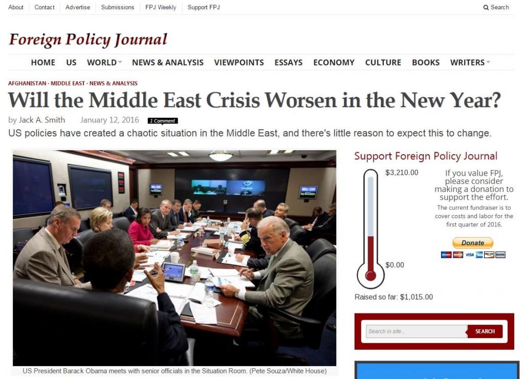 Скриншот на сайта Foreign policy journal
