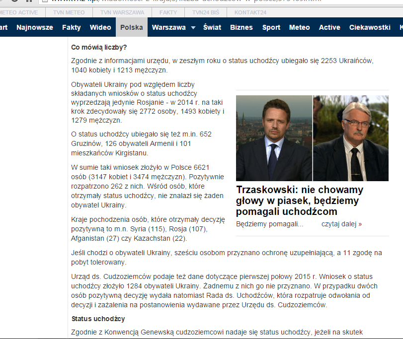 Screenshot website tvn24