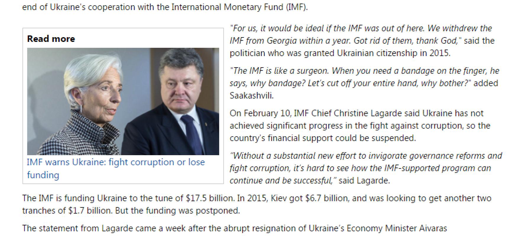 Fake : Saakashvili vuole espellere l'FMI dall'Ucraina