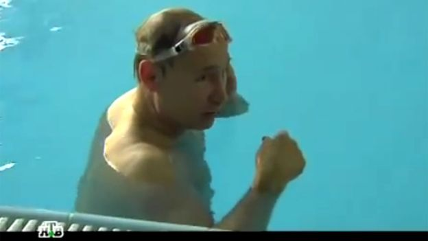 Image copyright NTV Image caption Vladimir Putin was filmed by Russian station NTV exercising and relaxing